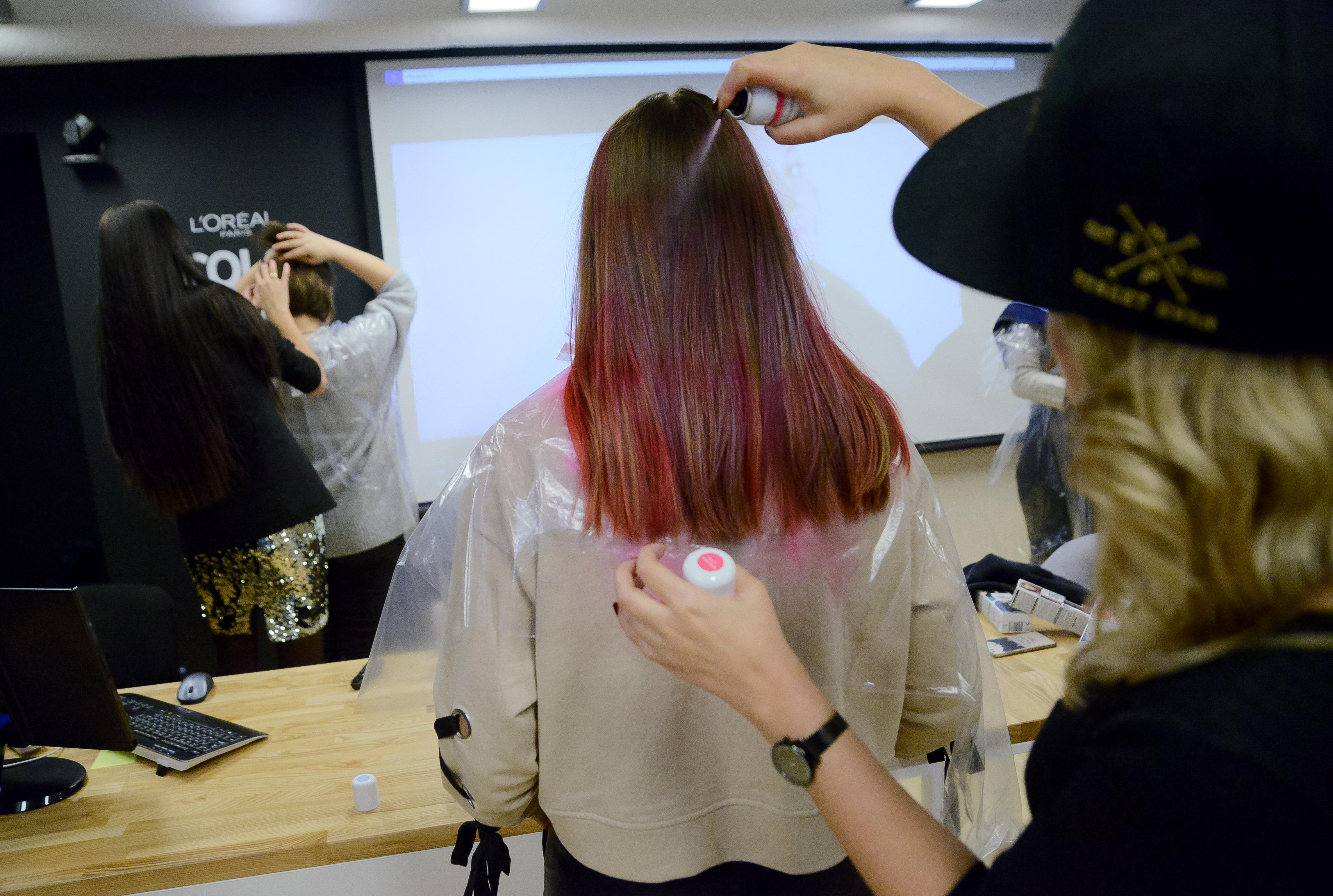 Loreal colorista на темных волосах